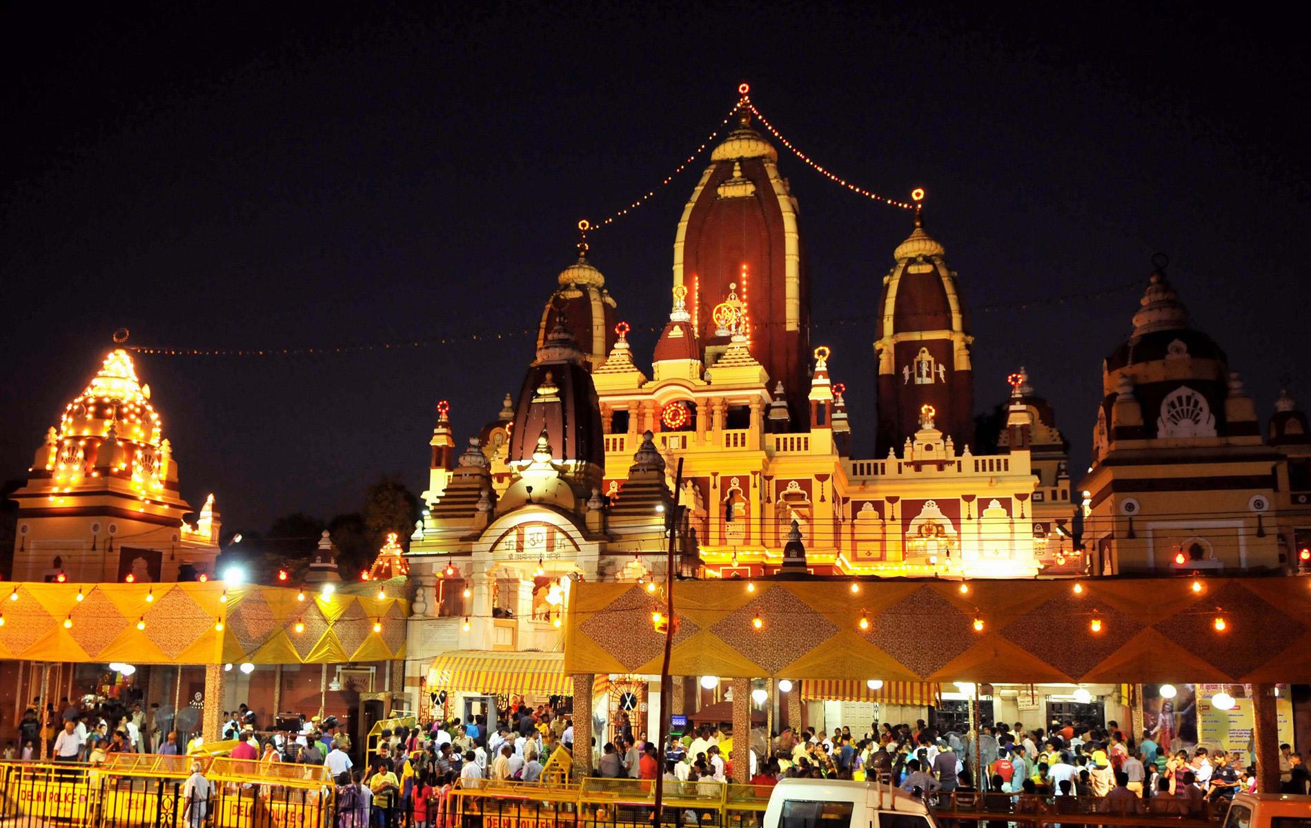 The Lakshmi Narayan Mandir (Birla Mandir) being illuminated on the Eve of ÔJANMASHTHAMIÕ celebrations, in New Delhi on August 17, 2014.