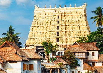 Thiruvananthapuram, India - Padmanabhaswamy temple was built in the Dravidian style and principal deity Vishnu is enshrined in it.